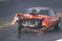 Video: A Classic Camaro Crashes At The Drag Strip