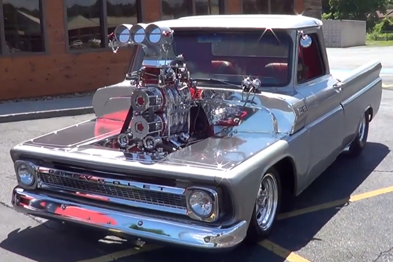 Video: Twin Supercharged 1965 Chevy Pickup Catches Eyes And Air!