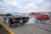 Video: Father-Son Mustang Dual Burnout