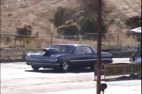 Badass '65 Chevelle Goes Head on into a Wall on the Strip