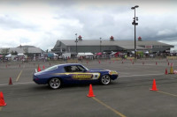 """Little Al"" Navigates the Cones In A 1970 1/2 Camaro"