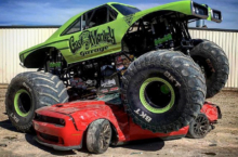 Gas Monkey Monster Truck Mutilates What Looks Like A 2015 Hellcat