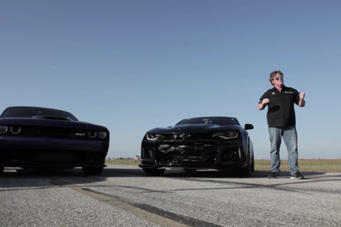 Stock 2017 Camaro ZL1 And Challenger Hellcat Go Toe-To-Toe