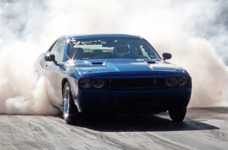 Video: 200+ MPH, 4,500 Lb. Twin Turbo Challenger Goes 8.81