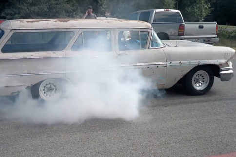 Burnout Stress Test - 1958 Chevy Brookwood Kills An Axle